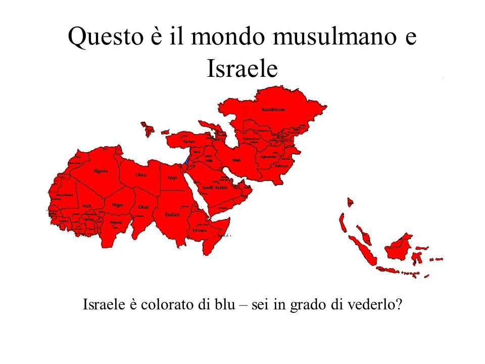 Questo è il mondo musulmano e Israele Israele è colorato di blu – sei in grado di vederlo?