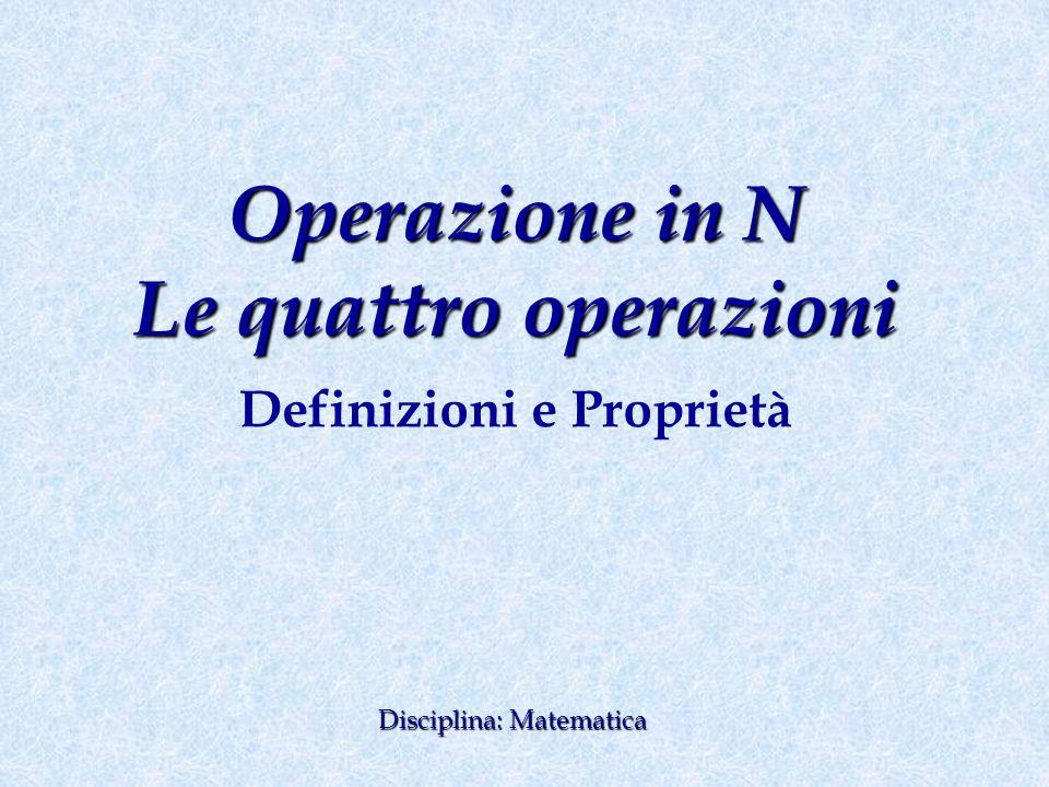 Operazione in N Le quattro operazioni Definizioni e Proprietà Disciplina: Matematica