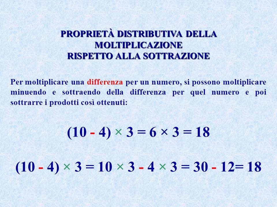 PROPRIETÀ DISTRIBUTIVA DELLA MOLTIPLICAZIONE RISPETTO ALLA SOTTRAZIONE Per moltiplicare una differenza per un numero, si possono moltiplicare minuendo