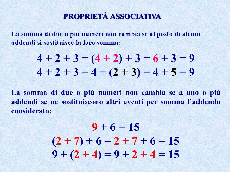 La somma di due o più numeri non cambia se al posto di alcuni addendi si sostituisce la loro somma: 4 + 2 + 3 = (4 + 2) + 3 = 6 + 3 = 9 4 + 2 + 3 = 4