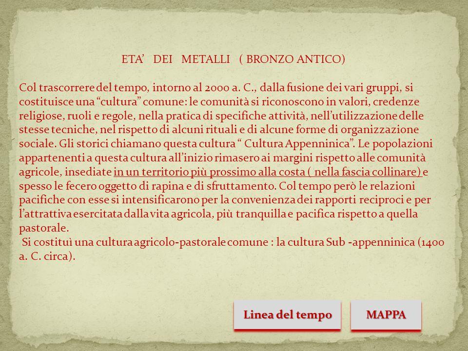 ETA' DEI METALLI ( BRONZO ANTICO) Col trascorrere del tempo, intorno al 2000 a.