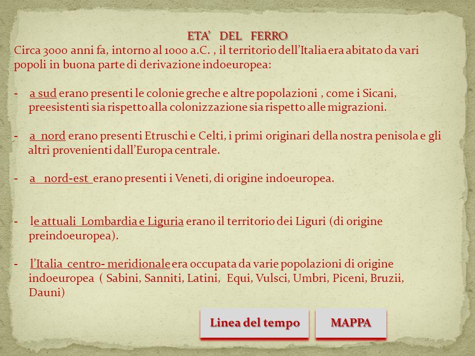 ETA' DEL FERRO Circa 3000 anni fa, intorno al 1000 a.C., il territorio dell'Italia era abitato da vari popoli in buona parte di derivazione indoeuropea: - a sud erano presenti le colonie greche e altre popolazioni, come i Sicani, preesistenti sia rispetto alla colonizzazione sia rispetto alle migrazioni.