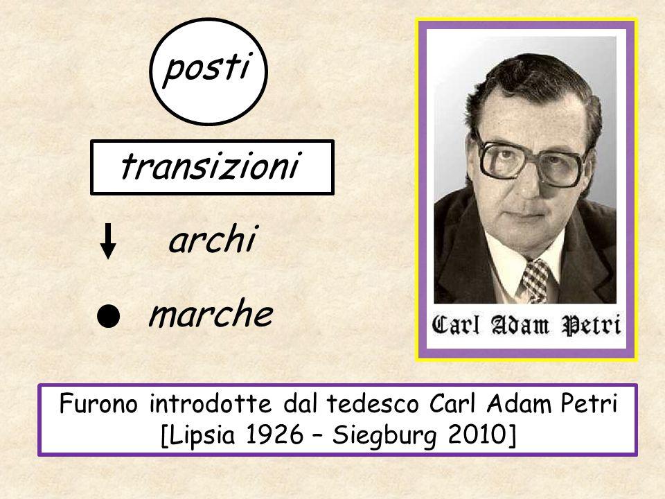 La rappresentazione grafica che si ottiene applicandoli è chiamata RETE DI PETRI posti archi transizioni marche Furono introdotte dal tedesco Carl Ada