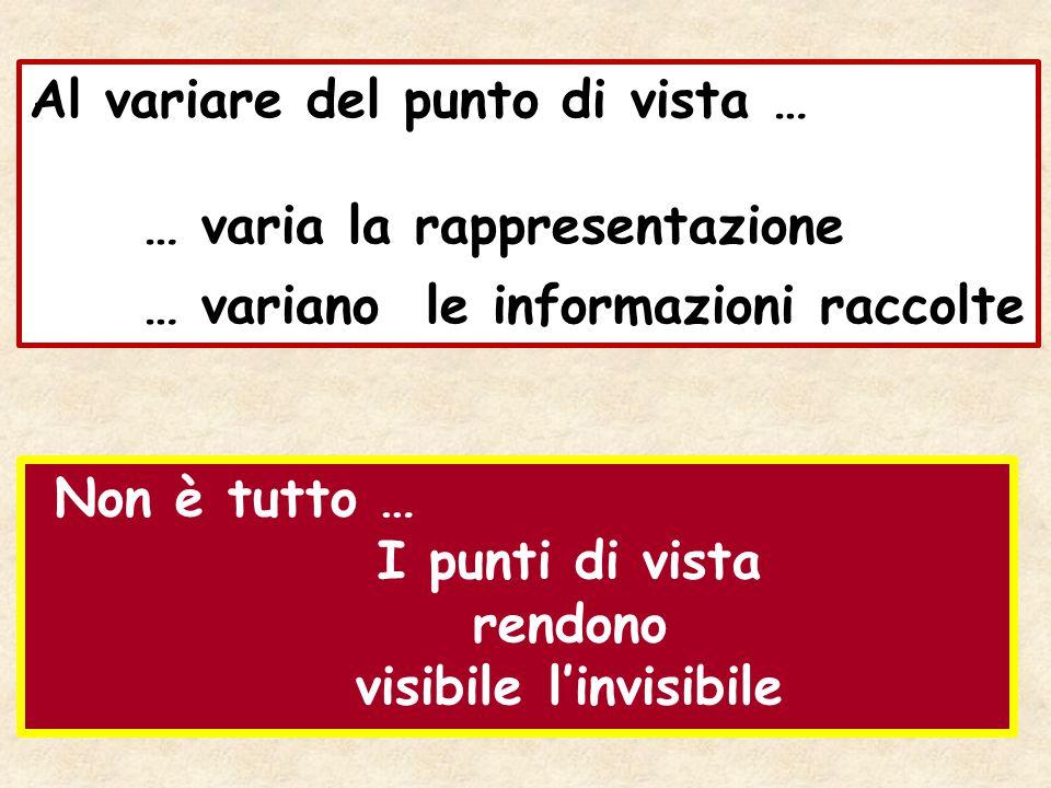 Al variare del punto di vista … … varia la rappresentazione … variano le informazioni raccolte Non è tutto … I punti di vista rendono visibile l'invis