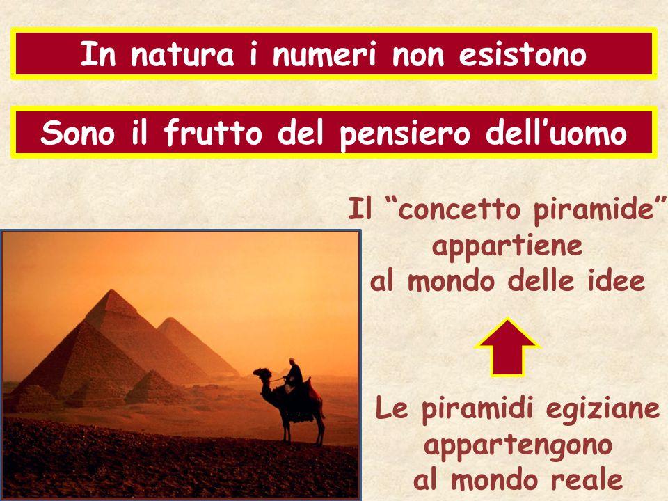 """In natura i numeri non esistono Sono il frutto del pensiero dell'uomo Le piramidi egiziane appartengono al mondo reale Il """"concetto piramide"""" appartie"""