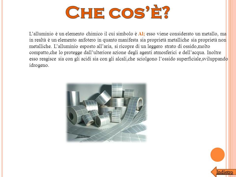 L'alluminio è un elemento chimico il cui simbolo è Al; esso viene considerato un metallo, ma in realtà è un elemento anfotero in quanto manifesta sia proprietà metalliche sia proprietà non metalliche.