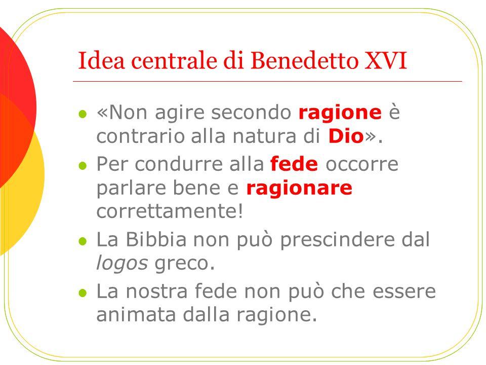 Idea centrale di Benedetto XVI «Non agire secondo ragione è contrario alla natura di Dio». Per condurre alla fede occorre parlare bene e ragionare cor