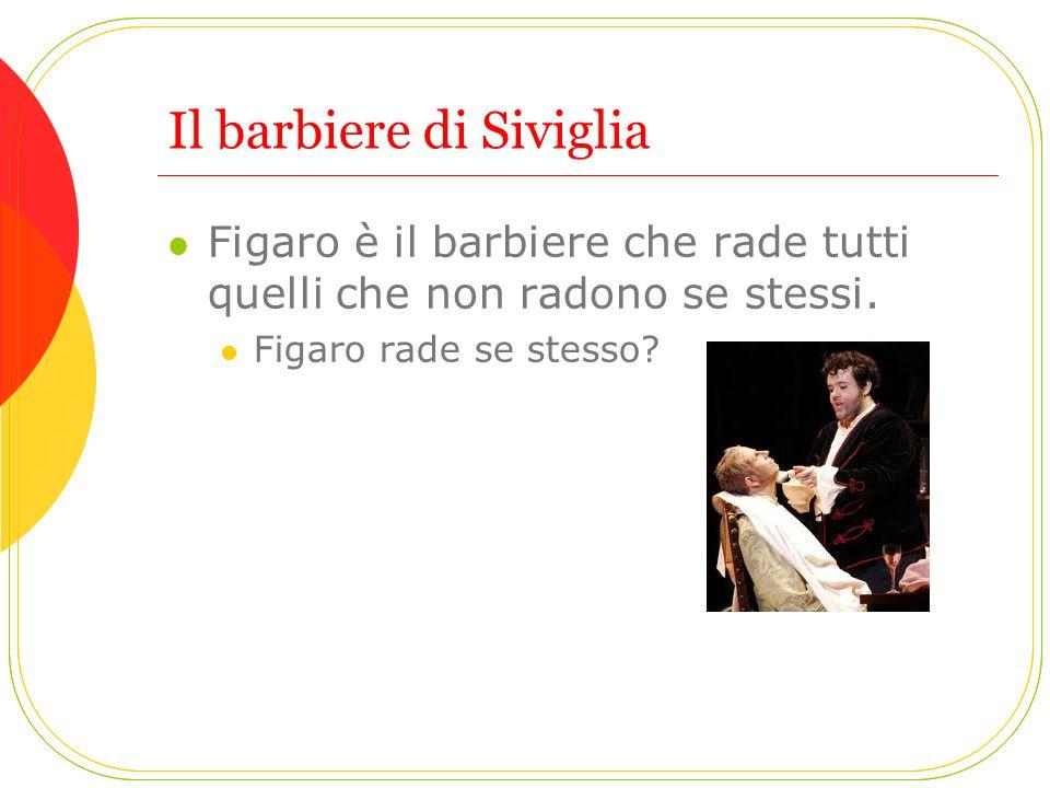 Il barbiere di Siviglia Figaro è il barbiere che rade tutti quelli che non radono se stessi. Figaro rade se stesso?