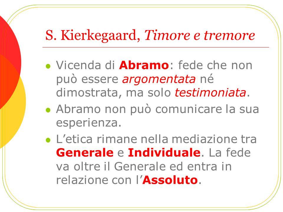 S. Kierkegaard, Timore e tremore Vicenda di Abramo: fede che non può essere argomentata né dimostrata, ma solo testimoniata. Abramo non può comunicare