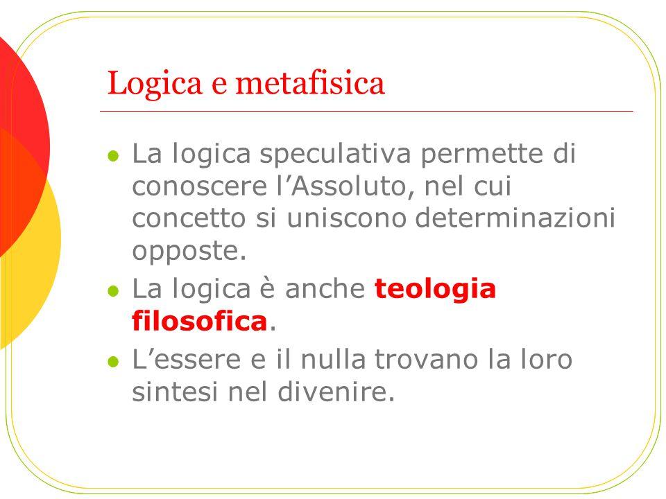Logica e metafisica La logica speculativa permette di conoscere l'Assoluto, nel cui concetto si uniscono determinazioni opposte. La logica è anche teo