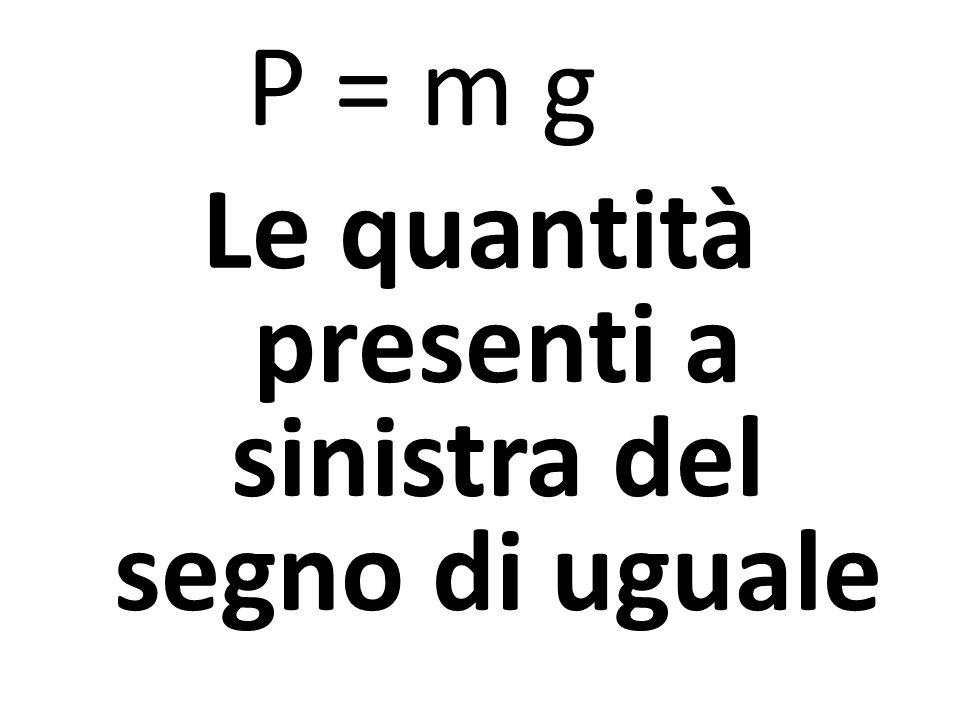 P = m g Le quantità presenti a sinistra del segno di uguale