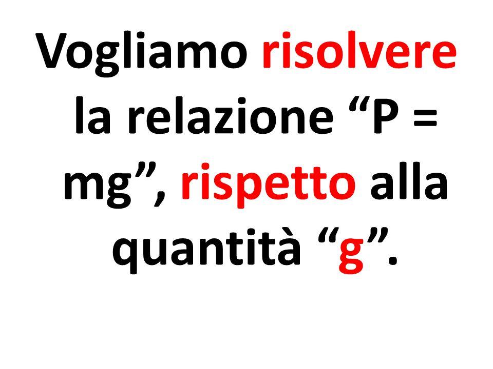 """Vogliamo risolvere la relazione """"P = mg"""", rispetto alla quantità """"g""""."""