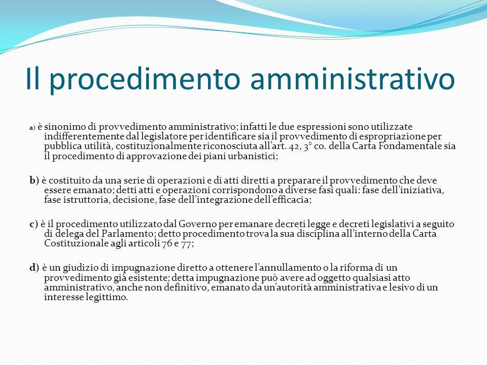 Il procedimento amministrativo a) è sinonimo di provvedimento amministrativo; infatti le due espressioni sono utilizzate indifferentemente dal legisla