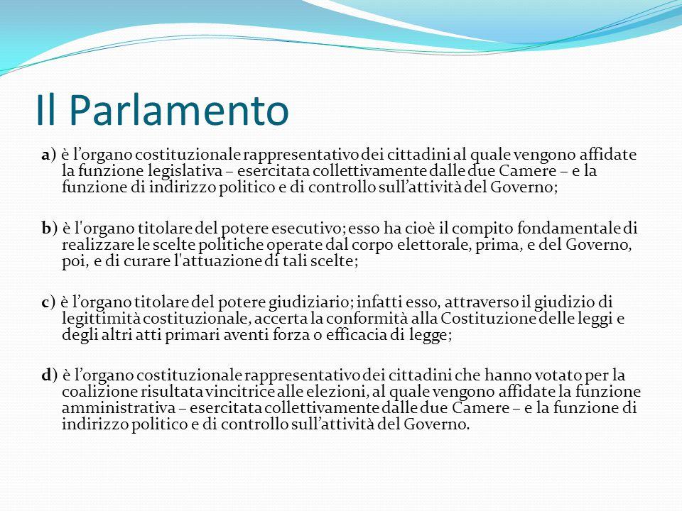 Il Parlamento a) è l'organo costituzionale rappresentativo dei cittadini al quale vengono affidate la funzione legislativa – esercitata collettivament