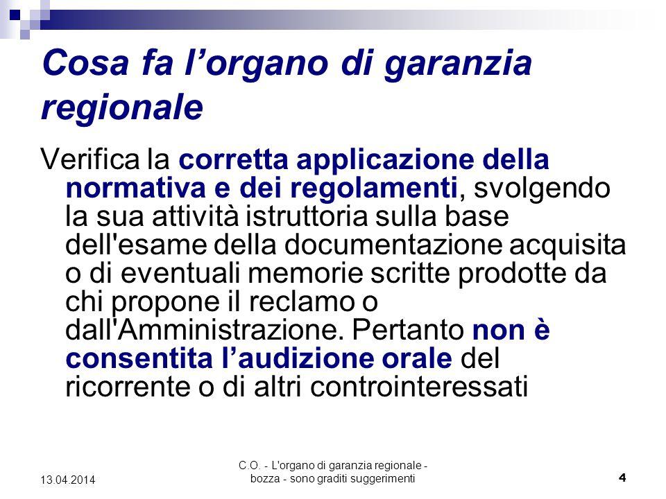 C.O. - L'organo di garanzia regionale - bozza - sono graditi suggerimenti4 13.04.2014 Cosa fa l'organo di garanzia regionale Verifica la corretta appl