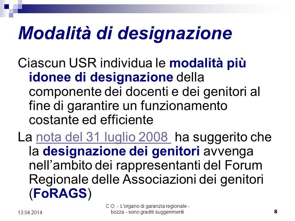 C.O. - L'organo di garanzia regionale - bozza - sono graditi suggerimenti8 13.04.2014 Modalità di designazione Ciascun USR individua le modalità più i