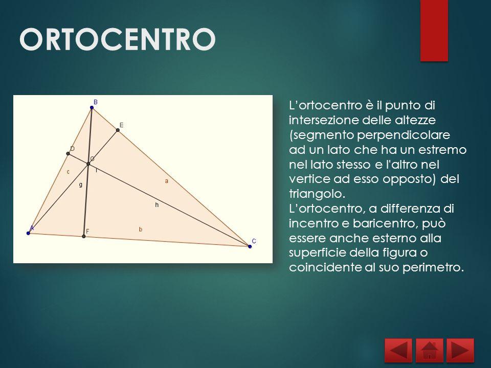 ORTOCENTRO L'ortocentro è il punto di intersezione delle altezze (segmento perpendicolare ad un lato che ha un estremo nel lato stesso e l'altro nel v