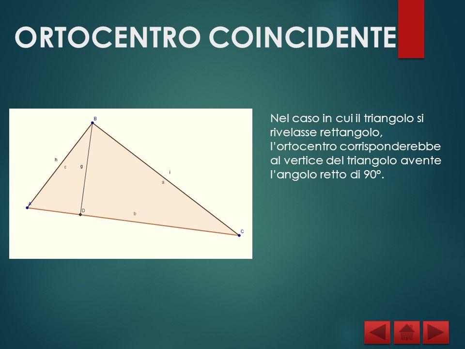 ORTOCENTRO COINCIDENTE Nel caso in cui il triangolo si rivelasse rettangolo, l'ortocentro corrisponderebbe al vertice del triangolo avente l'angolo re