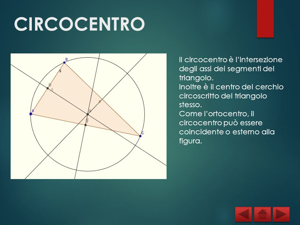 CIRCOCENTRO Il circocentro è l'intersezione degli assi dei segmenti del triangolo. Inoltre è il centro del cerchio circoscritto del triangolo stesso.