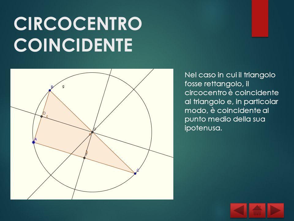 CIRCOCENTRO COINCIDENTE Nel caso in cui il triangolo fosse rettangolo, il circocentro è coincidente al triangolo e, in particolar modo, è coincidente