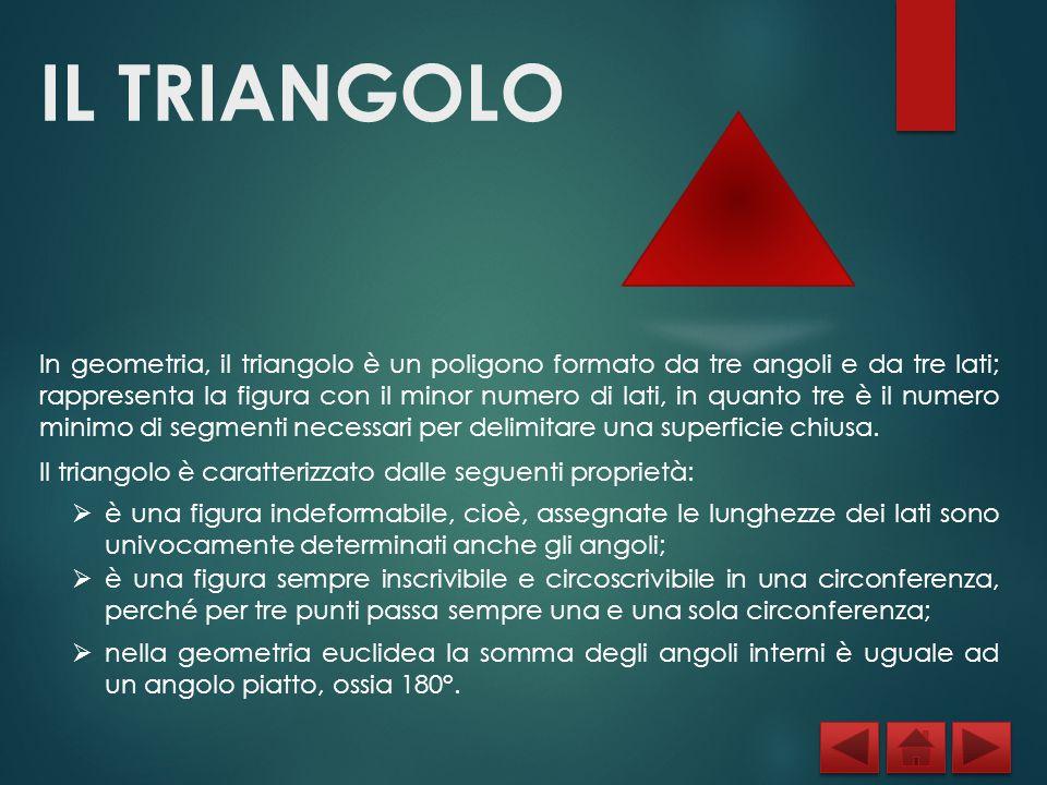 IL TRIANGOLO In geometria, il triangolo è un poligono formato da tre angoli e da tre lati; rappresenta la figura con il minor numero di lati, in quant