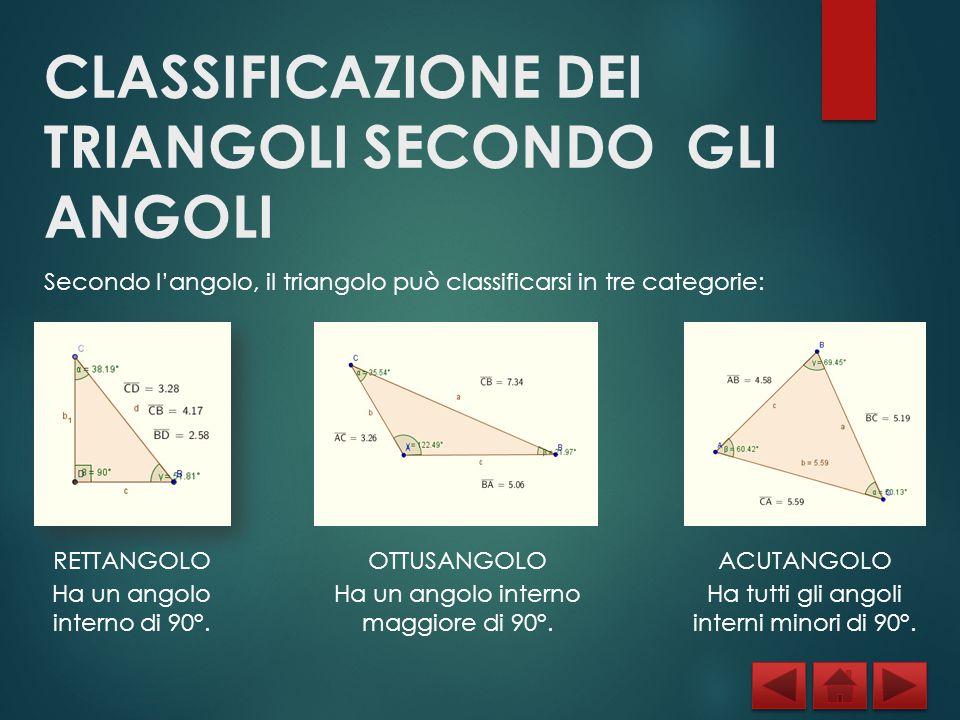 CLASSIFICAZIONE DEI TRIANGOLI SECONDO GLI ANGOLI Secondo l'angolo, il triangolo può classificarsi in tre categorie: RETTANGOLO Ha un angolo interno di