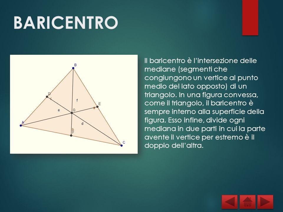 BARICENTRO Il baricentro è l'intersezione delle mediane (segmenti che congiungono un vertice al punto medio del lato opposto) di un triangolo. In una