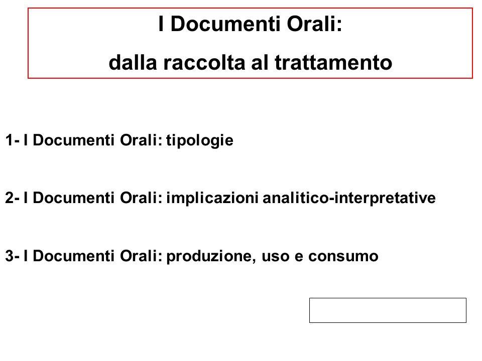 I Documenti Orali sono performance narrative che riproducono un evento comunicativo formalizzato, costruito sulla relazione dialogica tra: - il rilevatore/ricercatore; - l'informatore/narratore; - il pubblico/fruitore.