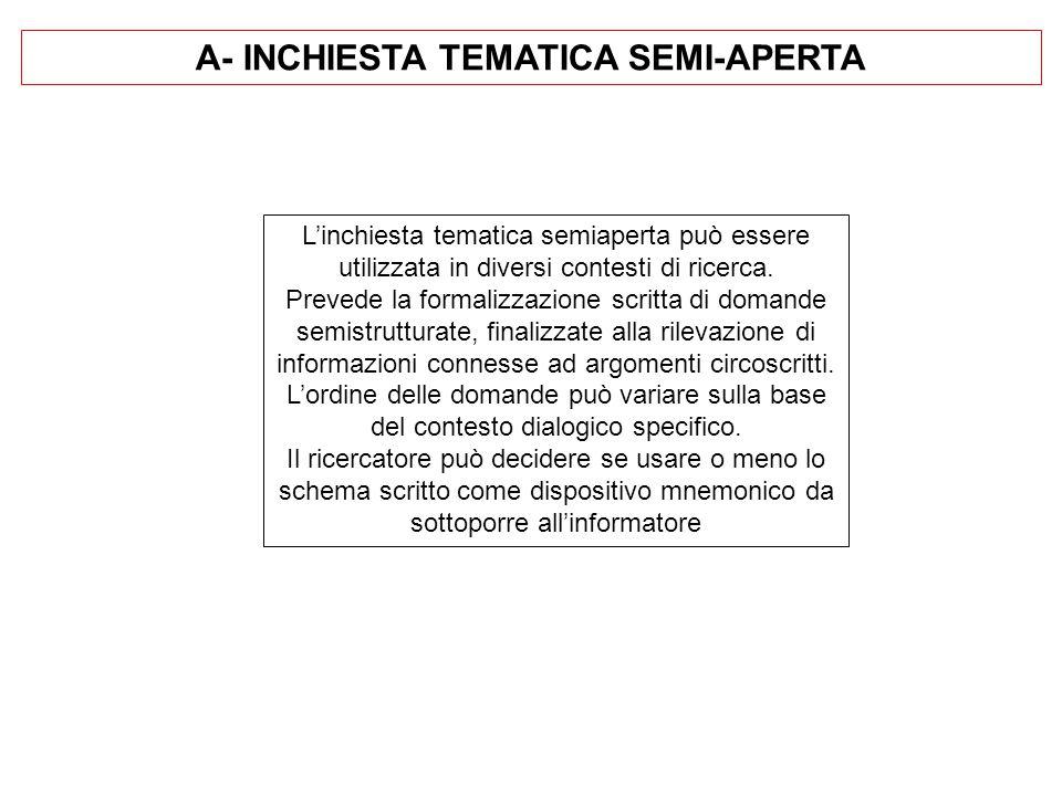 A- INCHIESTA TEMATICA SEMI-APERTA L'inchiesta tematica semiaperta può essere utilizzata in diversi contesti di ricerca.