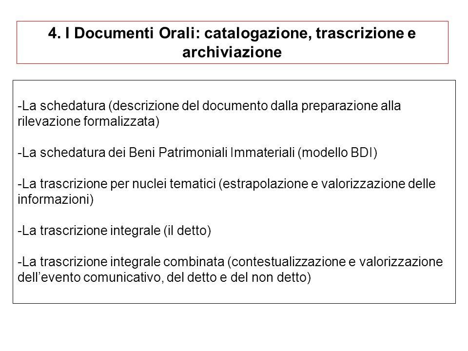4. I Documenti Orali: catalogazione, trascrizione e archiviazione -La schedatura (descrizione del documento dalla preparazione alla rilevazione formal
