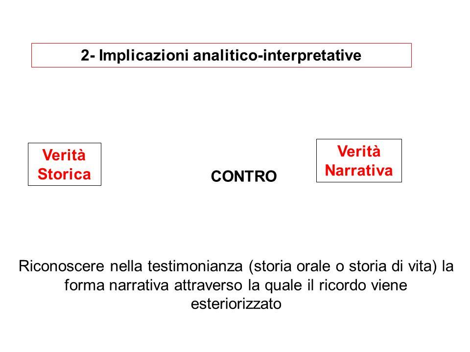 2- Implicazioni analitico-interpretative Verità Storica Verità Narrativa CONTRO Riconoscere nella testimonianza (storia orale o storia di vita) la forma narrativa attraverso la quale il ricordo viene esteriorizzato