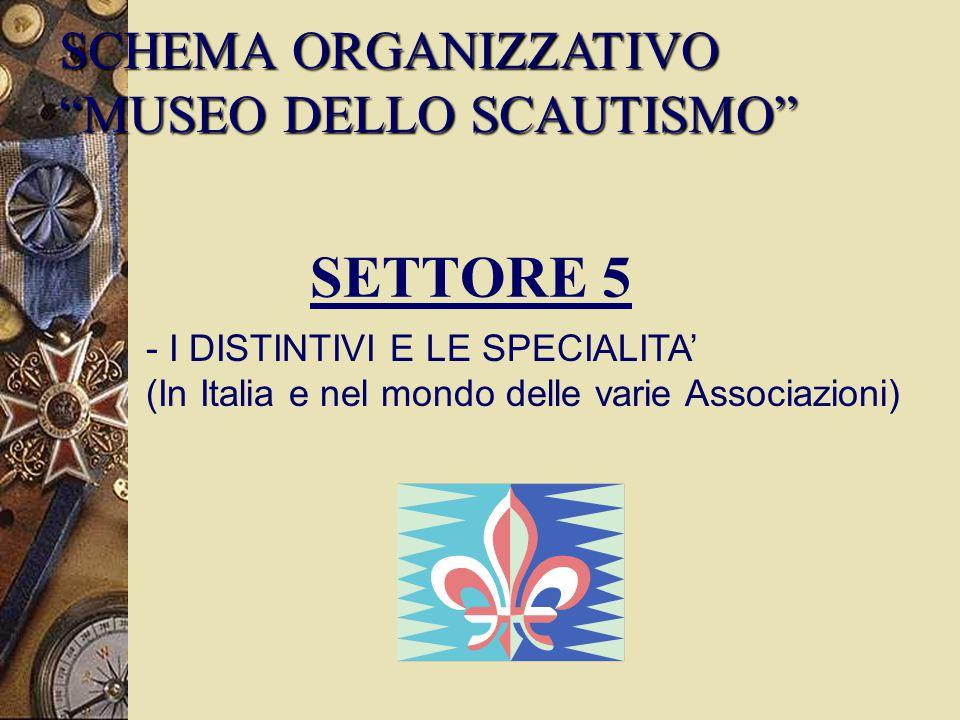 SETTORE 5 - I DISTINTIVI E LE SPECIALITA' (In Italia e nel mondo delle varie Associazioni) SCHEMA ORGANIZZATIVO MUSEO DELLO SCAUTISMO