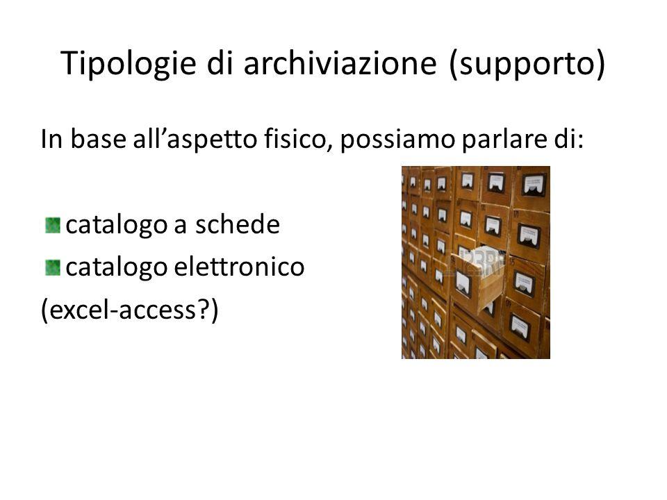 Tipologie di archiviazione (supporto) In base all'aspetto fisico, possiamo parlare di: catalogo a schede catalogo elettronico (excel-access?)