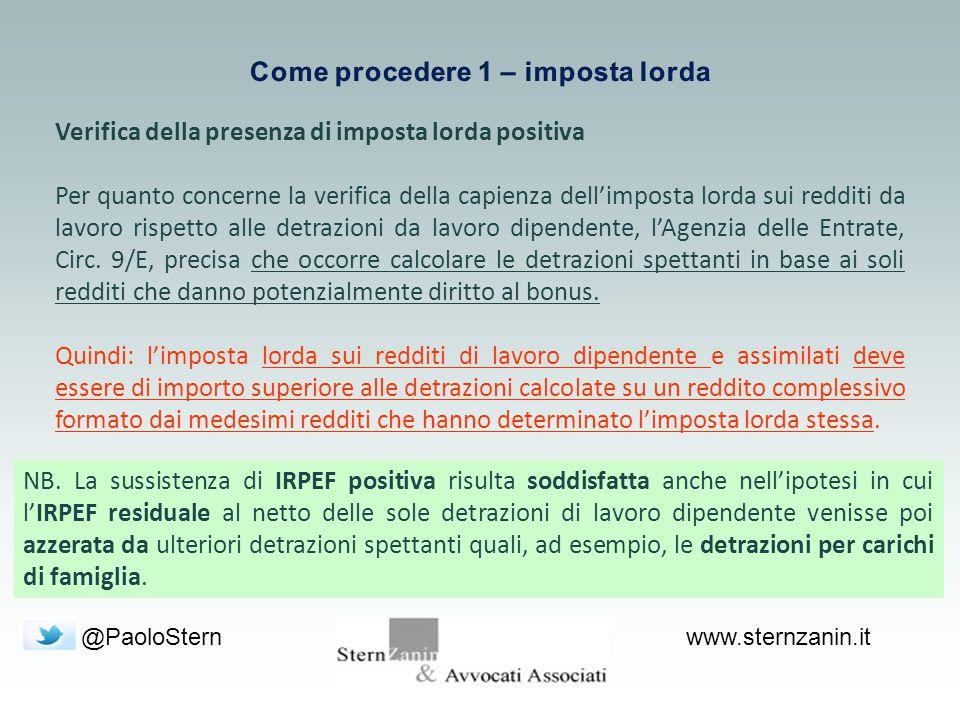 @PaoloSternwww.sternzanin.it Verifica della presenza di imposta lorda positiva Per quanto concerne la verifica della capienza dell'imposta lorda sui r