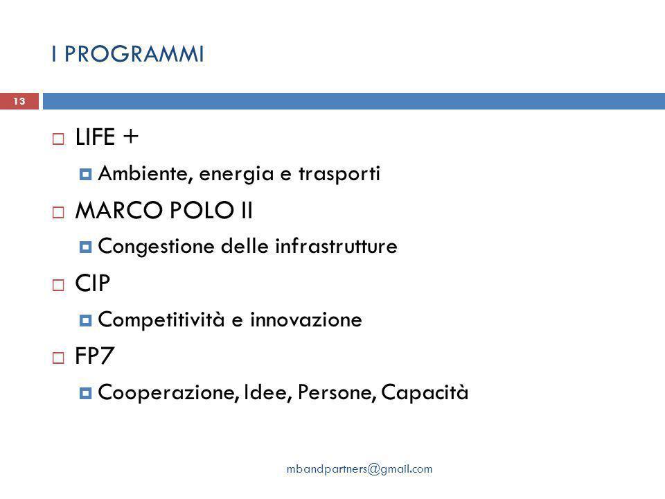 I PROGRAMMI mbandpartners@gmail.com 13  LIFE +  Ambiente, energia e trasporti  MARCO POLO II  Congestione delle infrastrutture  CIP  Competitività e innovazione  FP7  Cooperazione, Idee, Persone, Capacità