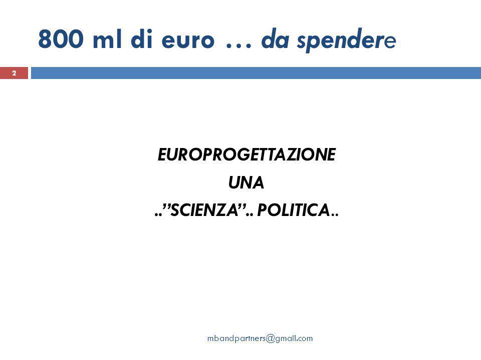 """800 ml di euro … da spendere EUROPROGETTAZIONE UNA..""""SCIENZA"""".. POLITICA.. 2 mbandpartners@gmail.com"""