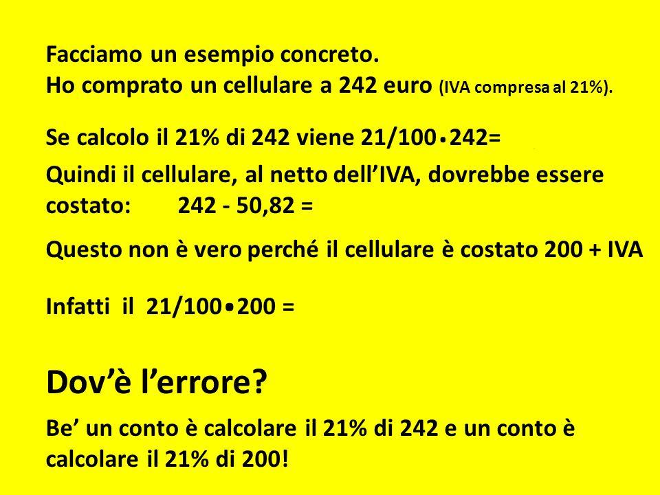 Facciamo un esempio concreto. Ho comprato un cellulare a 242 euro (IVA compresa al 21%). Se calcolo il 21% di 242 viene 21/100. 242= 50,82 euro Quindi