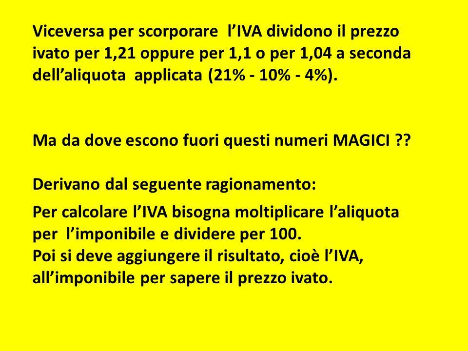 Matematicamente possiamo scrivere: Prezzo (con IVA al 21%) = Imponibile + 21% Imponibile se l'imponibile lo chiamiamo X, abbiamo: Prezzo (con IVA al 21% ) = X + 21% X mettendo X in evidenza: 21 Prezzo (con IVA al 21% ) = X (1 + --------- ) 100 100 + 21 Prezzo (con IVA al 21% ) = X ( -------------- ) 100 121 Prezzo (con IVA al 21% ) = X ------------ 100