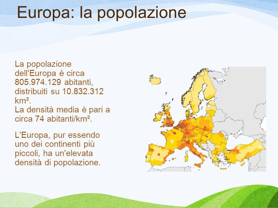 Europa: la popolazione La popolazione dell'Europa è circa 805.974.129 abitanti, distribuiti su 10.832.312 km². La densità media è pari a circa 74 abit