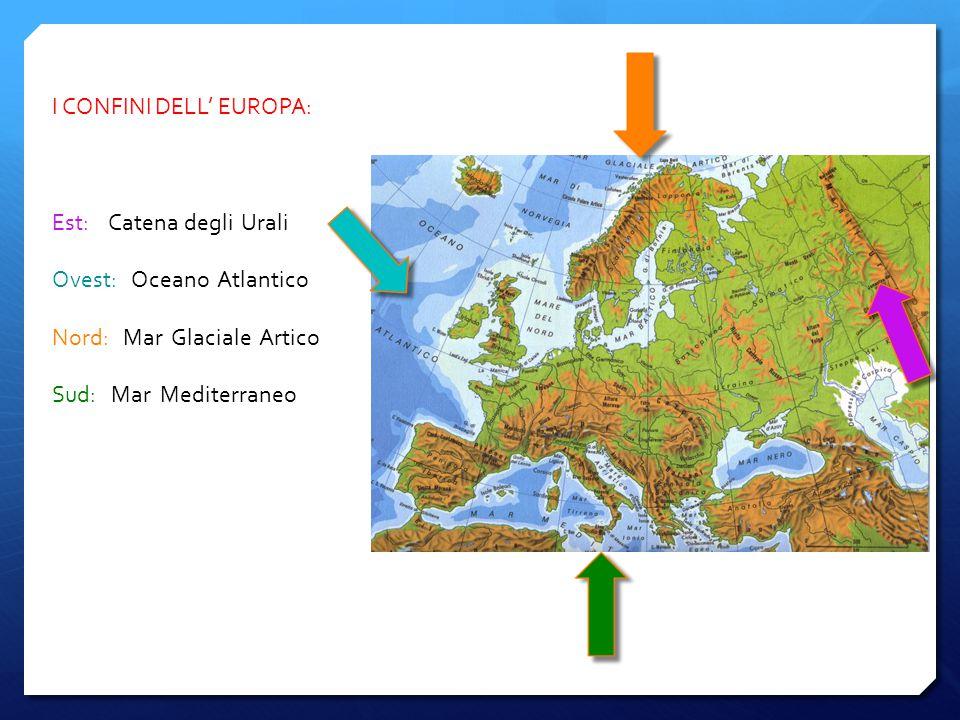I CONFINI DELL' EUROPA: Est: Catena degli Urali Ovest: Oceano Atlantico Nord: Mar Glaciale Artico Sud: Mar Mediterraneo