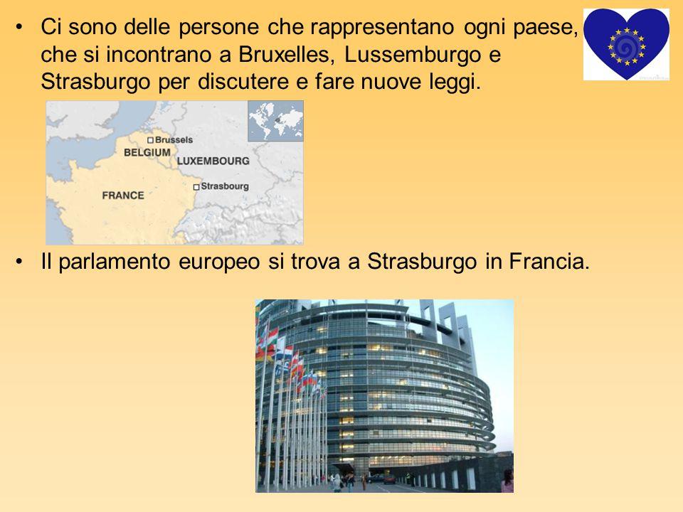 Ci sono delle persone che rappresentano ogni paese, che si incontrano a Bruxelles, Lussemburgo e Strasburgo per discutere e fare nuove leggi. Il parla