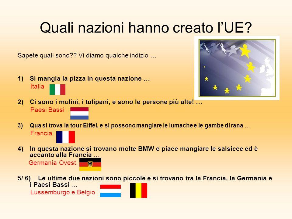 Quali nazioni hanno creato l'UE? Sapete quali sono?? Vi diamo qualche indizio … 1)Si mangia la pizza in questa nazione … Italia 2)Ci sono i mulini, i