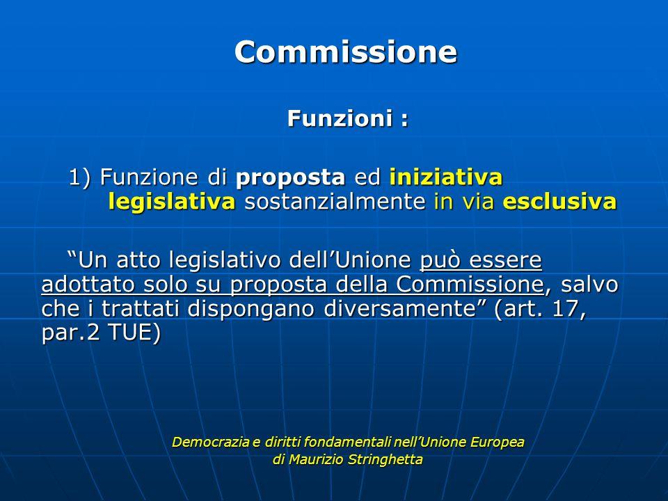 Funzioni : 1) Funzione di proposta ed iniziativa legislativa sostanzialmente in via esclusiva Un atto legislativo dell'Unione può essere adottato solo su proposta della Commissione, salvo che i trattati dispongano diversamente (art.