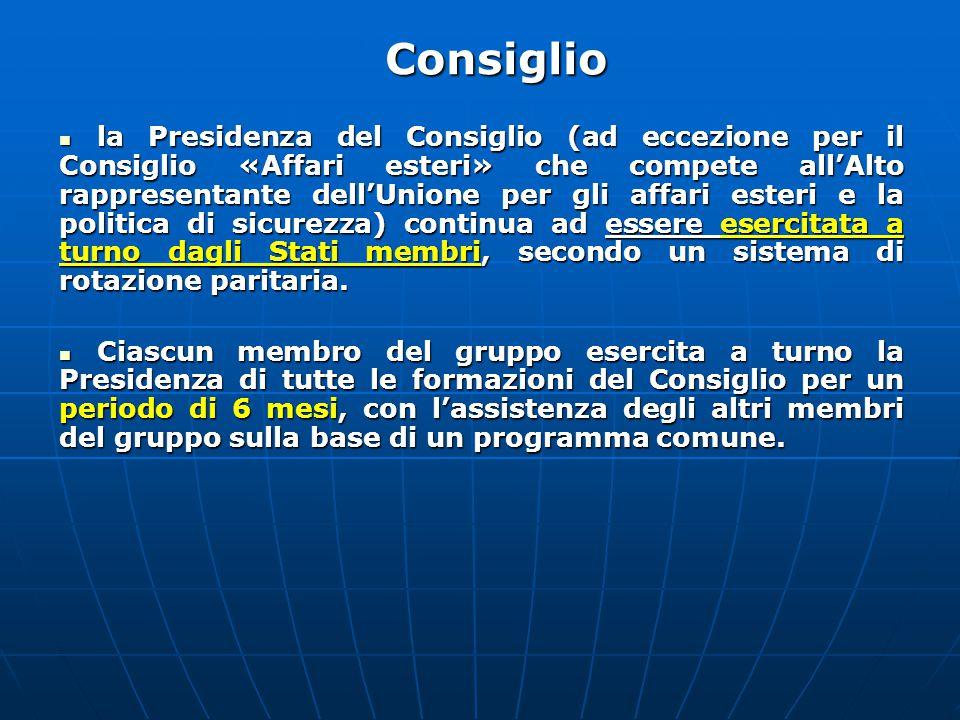 la Presidenza del Consiglio (ad eccezione per il Consiglio «Affari esteri» che compete all'Alto rappresentante dell'Unione per gli affari esteri e la politica di sicurezza) continua ad essere esercitata a turno dagli Stati membri, secondo un sistema di rotazione paritaria.