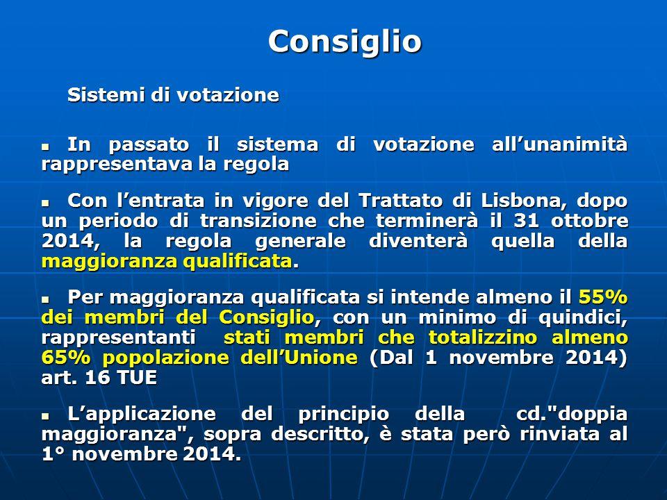 Sistemi di votazione In passato il sistema di votazione all'unanimità rappresentava la regola In passato il sistema di votazione all'unanimità rappresentava la regola Con l'entrata in vigore del Trattato di Lisbona, dopo un periodo di transizione che terminerà il 31 ottobre 2014, la regola generale diventerà quella della maggioranza qualificata.
