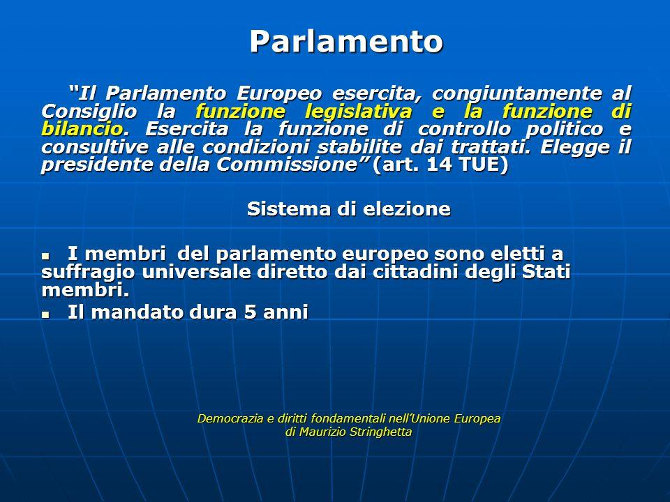 Il Parlamento Europeo esercita, congiuntamente al Consiglio la funzione legislativa e la funzione di bilancio.