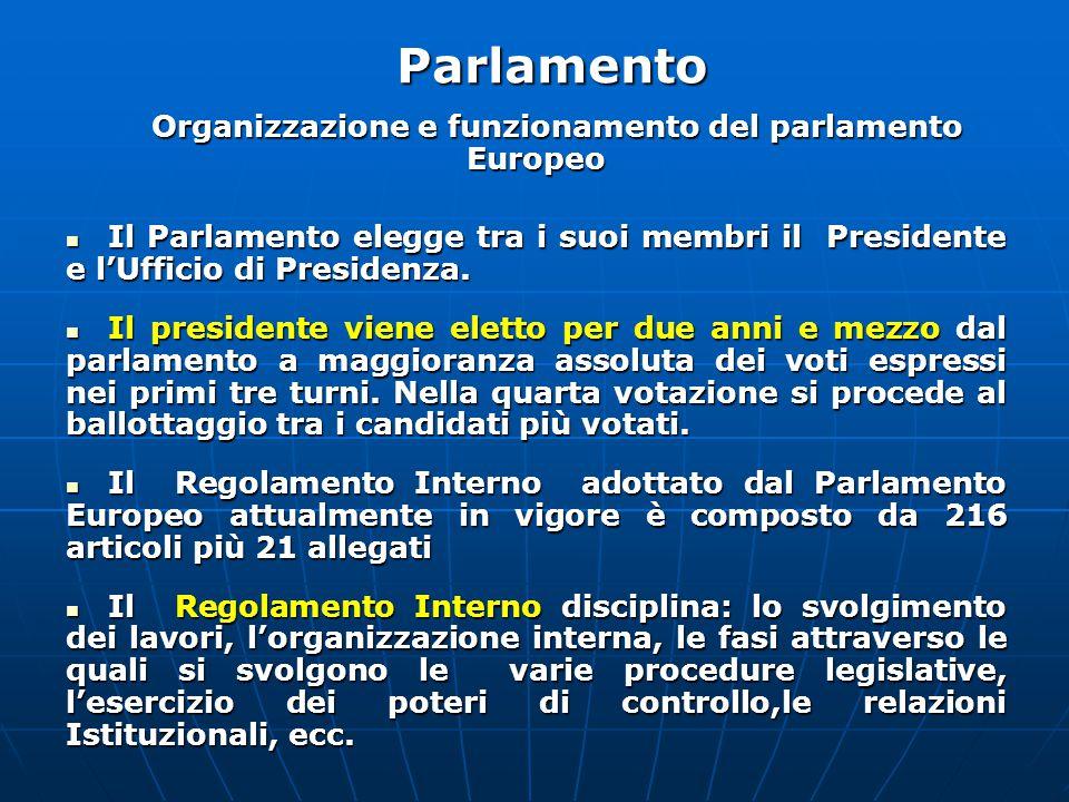 Organizzazione e funzionamento del parlamento Europeo Il Parlamento elegge tra i suoi membri il Presidente e l'Ufficio di Presidenza.