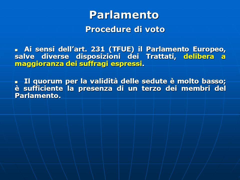 Procedure di voto Ai sensi dell'art.