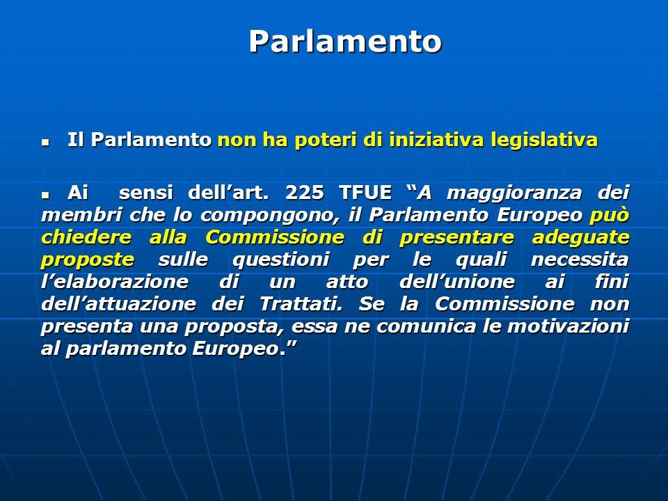 Il Parlamento non ha poteri di iniziativa legislativa Il Parlamento non ha poteri di iniziativa legislativa Ai sensi dell'art.