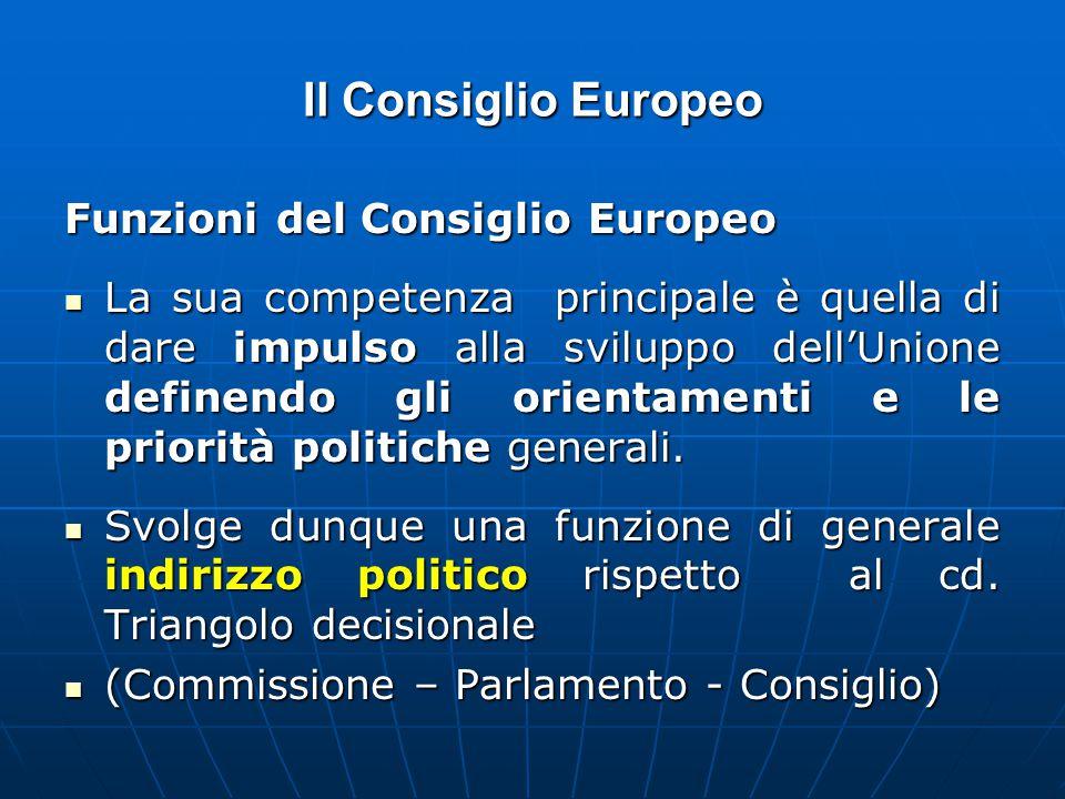Il Consiglio Europeo Funzioni del Consiglio Europeo La sua competenza principale è quella di dare impulso alla sviluppo dell'Unione definendo gli orientamenti e le priorità politiche generali.